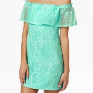 Speechless Junior's Lace Off the Shoulder Dress
